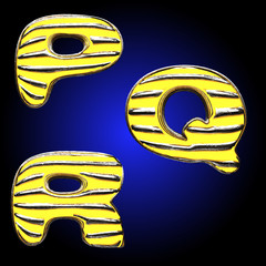 Yellow letter with metal
