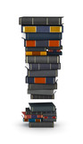 Exclamation mark , stacked from books