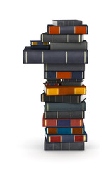 Number 1, stacked from books