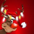 weihnachten muetze rudolf lichterkette rot hintergrund