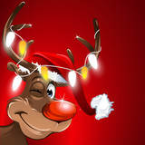 Fototapety weihnachten muetze rudolf lichterkette rot hintergrund