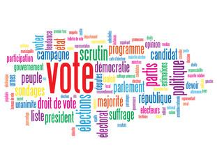 """Nuage de Tags """"VOTE"""" (élections bulletin suffrage droit devoir)"""