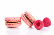 raspberry macaroons isolated on white