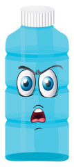 a bottle with a face