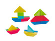 Nice wooden toy boat create from colorful wooden blocks