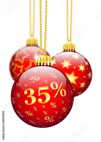 Rabatt, 35 %, Fünfunddreißig Prozent, Weihnachten, Werbung, Deko