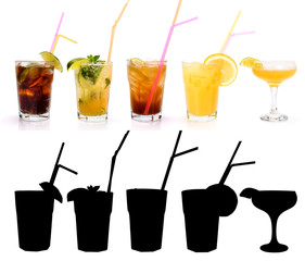 Various alcoholic cocktails and their rtansparency mask