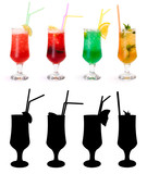 Various non-alcoholic cocktails and their rtansparency mask
