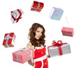Attractive woman with many gift boxes and bags.