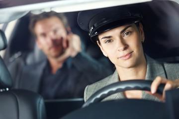 Portrait of female chauffeur