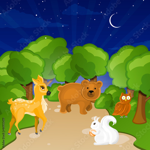 Spoed canvasdoek 2cm dik Bosdieren Vector Illustration of Forest Animals