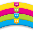 Arrow labels with numbers on color ribbons
