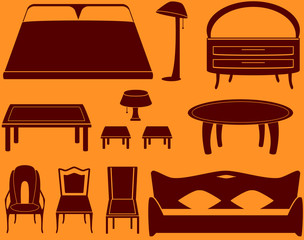 set isolated object - furniture for a room and kitchen