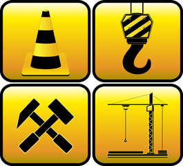 set yellow sign - symbol construction