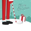 Funny retro vintage merry christmas Santa Claus golf postcard
