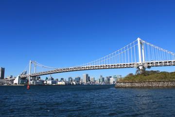 Rainbow bridge in Tokyo, Japan