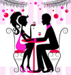 Silhouette of the couple, romantic New Year dinner