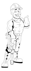 Under Constructional Worker - Vector Character Illustration