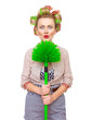 Funny cheerful housewife / girl with broom
