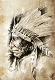 Sketch of tattoo art, native american indian head, chief, vintag