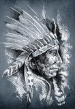 Sketch of tattoo art, native american indian head, chief, dirty