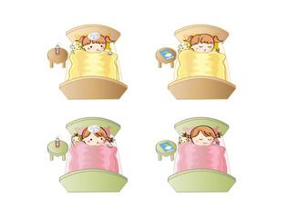 風邪で眠る子供とすやすや眠る子供(女の子)