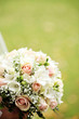 Close up of beautiful bride flowers bouquet