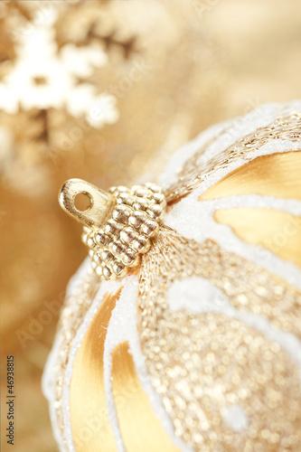 Golden Christmas decoration close-up