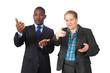Business people making random gestures