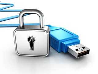 silver padlock and blue USB connection cable