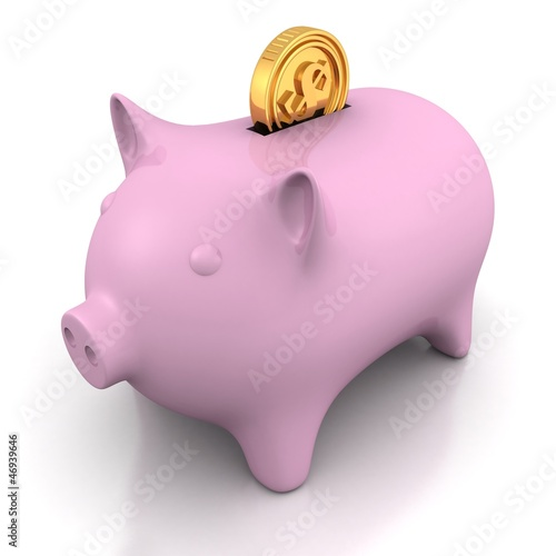 Piggy money bank with golden dollar coin
