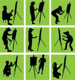 artist paints at easel poster