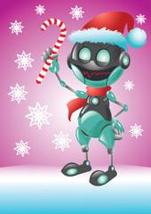 friendly robot santa