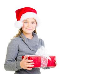 mädchen hält ein geschenk