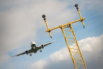 passenger jet on a runway flightpath