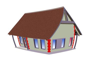 Rysunkowy kolorowy dom, model.