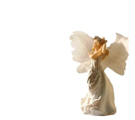 gorgeous white angel on white background