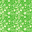 green seamless pattern with ecology signs
