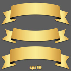 Vector set of gold ribbons, tapes (without shadow included)