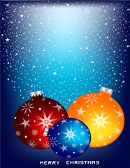 Orange, dark blue and red Christmas spheres