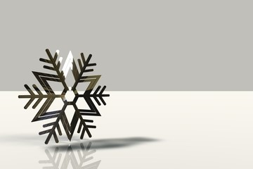 A snowflake on the white background