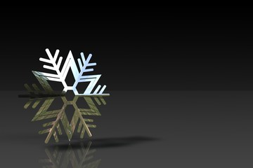 A  bright snowflake on the black background