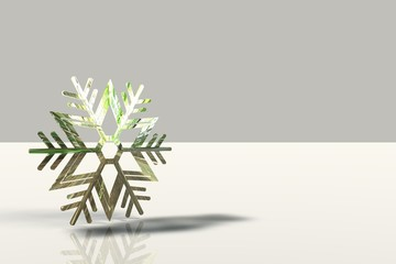 A different snowflake on the white background