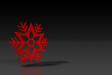 A red velvet snowflake on the black background