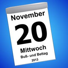 Kalender auf blau - 20.11.2013 - Buß- und Bettag