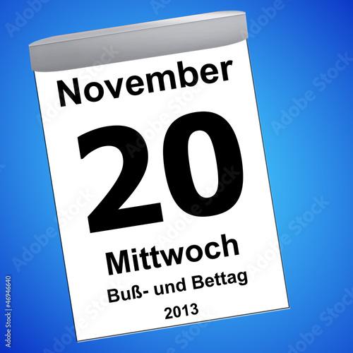 Leinwandbild Motiv Kalender auf blau - 20.11.2013 - Buß- und Bettag