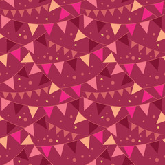 Vector Christmas Decorations Flags Seamless Pattern Background