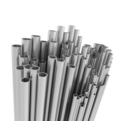 Rack of steel pipes