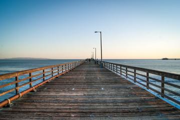 Straight wooden pier