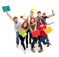 Group student with notebook isolated